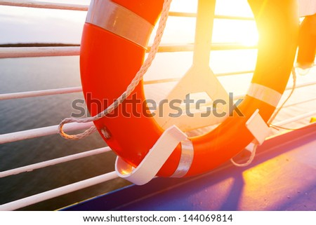 Life Buoy on a Cruise Ship - stock photo