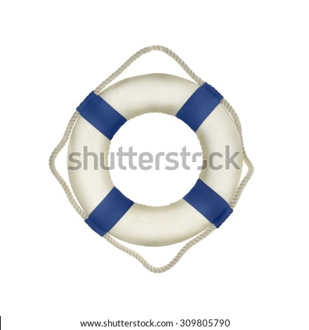 Life buoy on the white