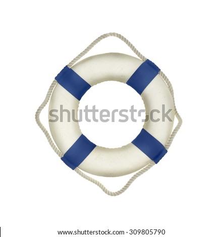 Life buoy on the white - stock photo
