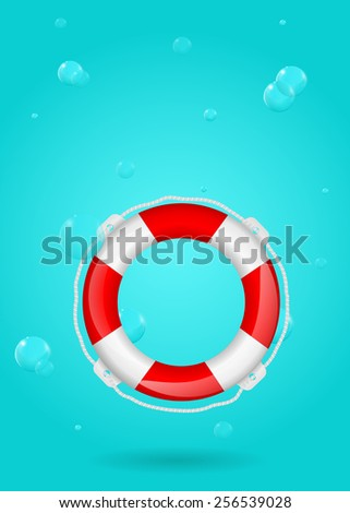 Life buoy on water background - stock photo