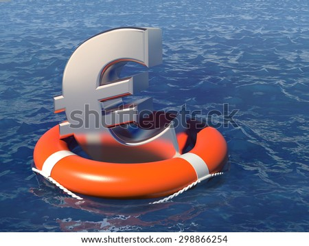 Life buoy with a euro symbol in the deep water. Business concept illustration.