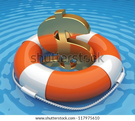 Life buoy with a US dollar sign in the water. 3d render illustration - stock photo