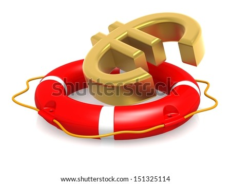 Life buoy with euro sign - stock photo