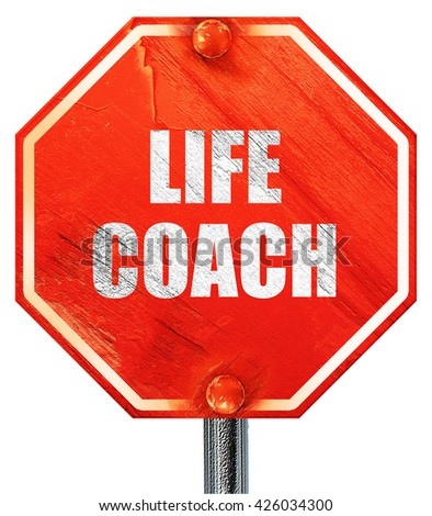 life coach, 3D rendering, a red stop sign - stock photo