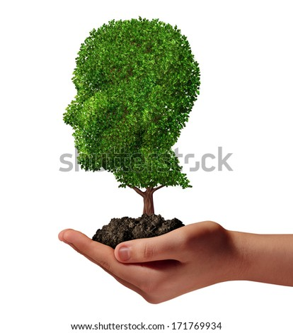 Life development concept with a hand holding a green tree shaped as a human head as a nurture metaphor and nature symbol for protection of the environment and growth potential. - stock photo