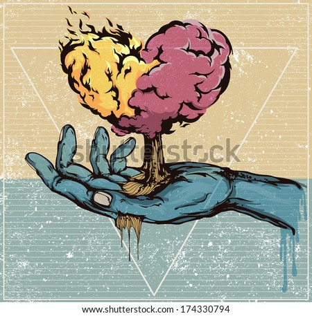 Life-giving by four elements: water, fire, earth, air - stock photo