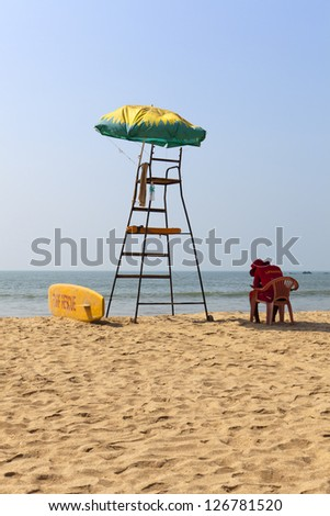 Life Guard on Patnem Beach South Goa - India - stock photo