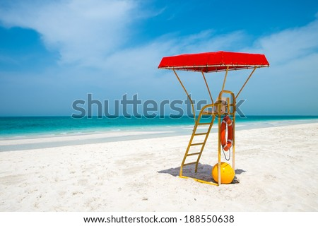 Life guard's post - stock photo