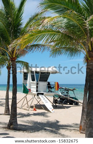 Life Guard Stand with Palm Trees