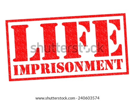 LIFE IMPRISONMENT red Rubber stamp over a white background.