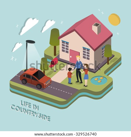 life in countryside concept in 3d isometric flat design - stock photo