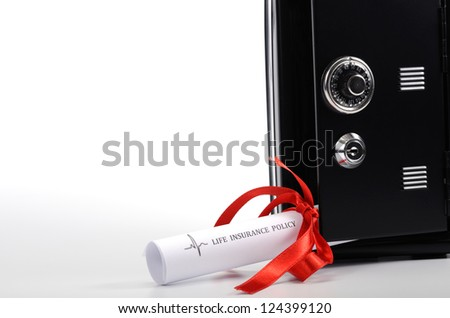 Life insurance policy and steel safe - stock photo
