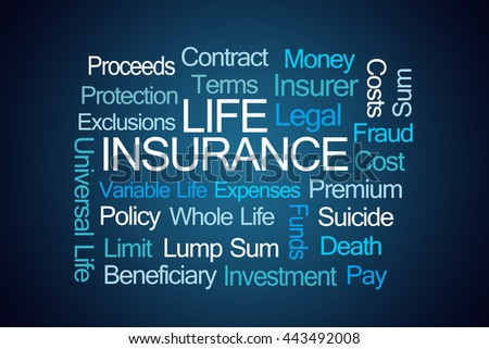 Life Insurance Word Cloud on Blue Background - stock photo