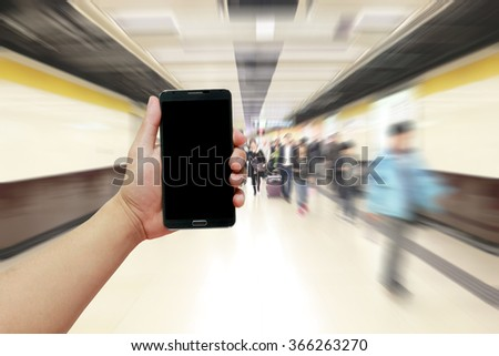 Life Media Man Train Hold Blur Hurry Space Store Center Moving Hall Check Crowd Control Touch Smart Ticket Queue Public Station Cycle Notice People Digital Social Network Chaotic Concept Subway Gabget - stock photo