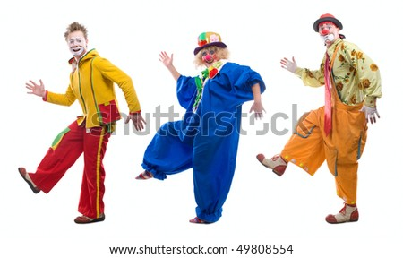 Life of clowns. All series by a key word mimes. - stock photo
