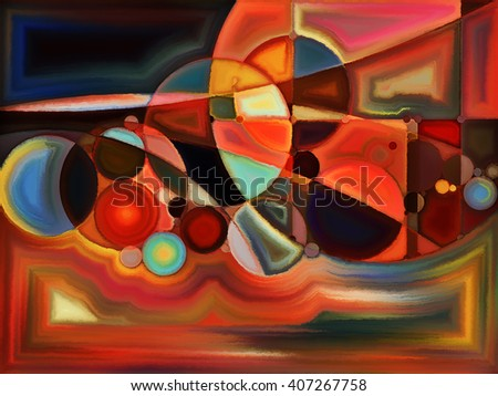 Life of forms series. Interplay of abstract forms and shape on the subject of art, painting, design and education - stock photo
