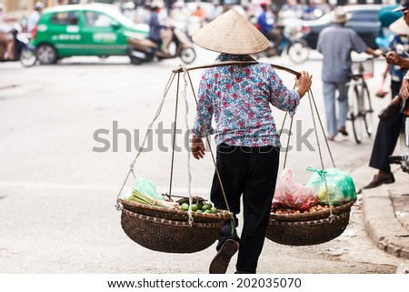 Life of vietnamese at morning market in HANOI, VIETNAM - stock photo