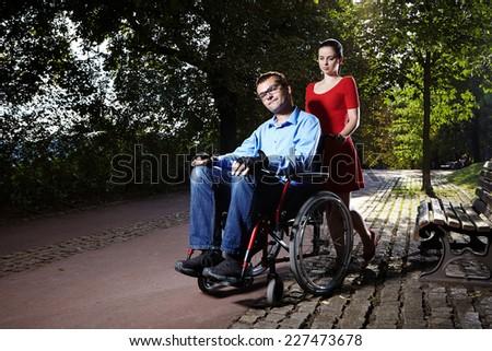 Life on wheel chair - stock photo