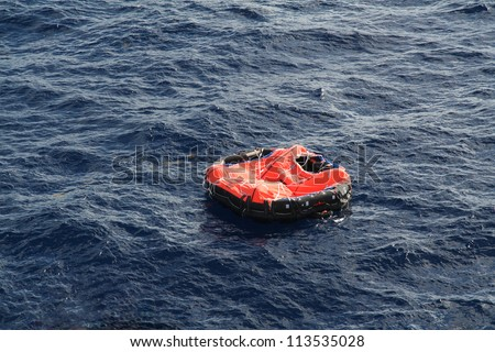 Life raft - stock photo
