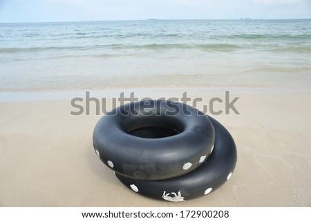 Life ring at Thung wua laen beach, famous beach in Chumphon, Thailand - stock photo