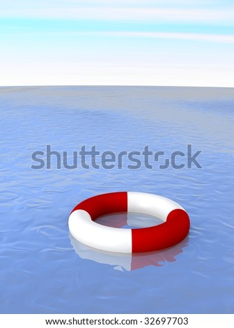 Life ring in ocean. 3d rendered illustration.