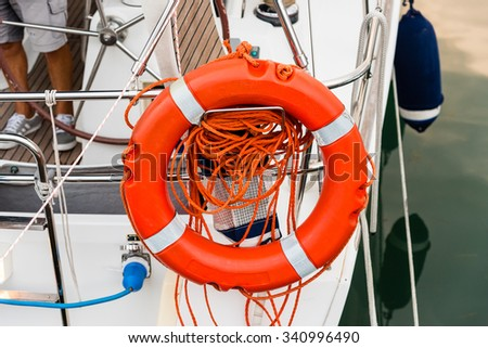 life saver on a boat - stock photo
