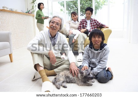 Life scenery of the third generation Japanese family at home