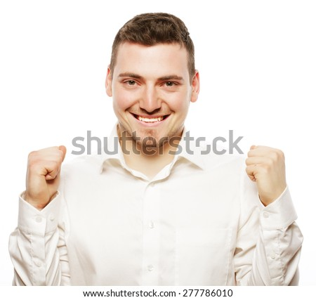 life style, business  and people concept: successful businessman. Happy young man in formalwear gesturing and smiling while standing against white background - stock photo