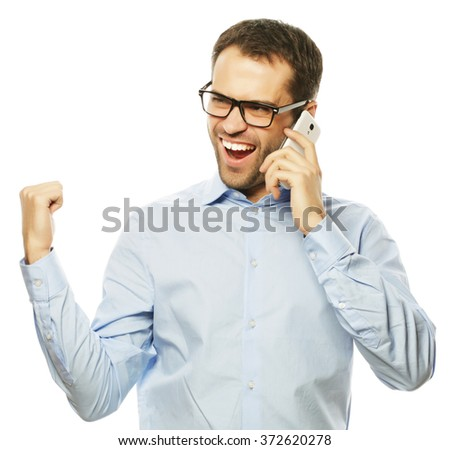 life style, business  and people concept: Successful gesturing business man with mobile phone, isolated over white background. - stock photo