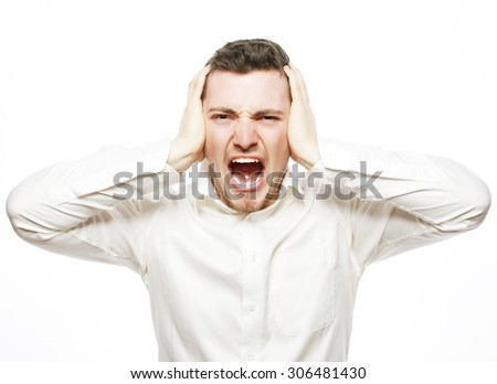 life style, business  and people concept: young office worker mad by stress screaming isolated on white - stock photo