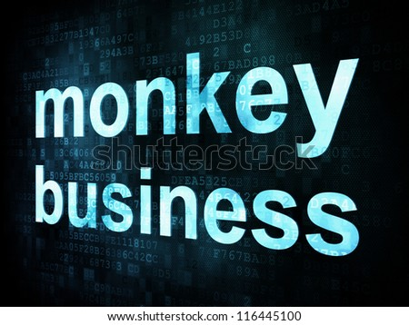 Life style concept: pixelated words monkey business on digital screen, 3d render