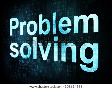 Life style concept: pixelated words Problem solving on digital screen, 3d render - stock photo