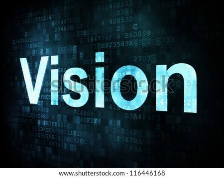 Life style concept: pixelated words Vision on digital screen, 3d render - stock photo