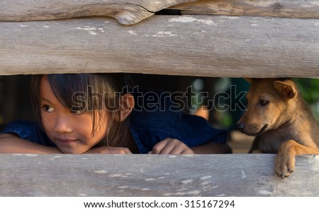 Life,The girl with a puppy peek. - stock photo