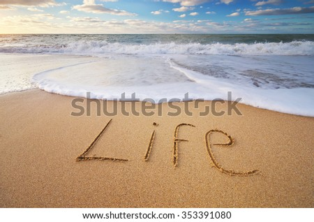 Life word on the sea sand. Conceptual nature design. - stock photo