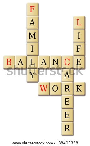 Life work and balance arrange in a crossword puzzle.