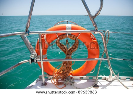 LIfebelt in a sailing boat.