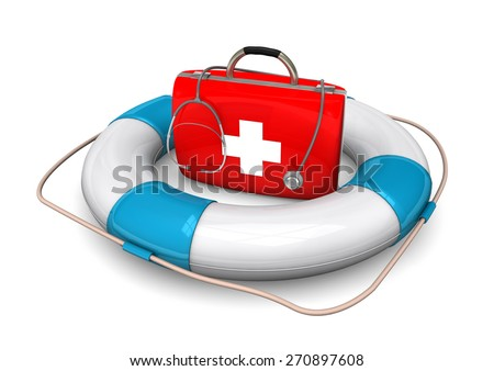 Lifebelt with first aid case on the white. - stock photo