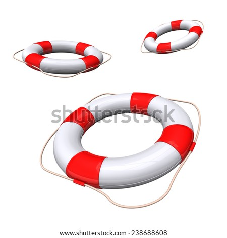 Lifebelts with white and red colors on the white background. - stock photo