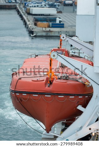 lifeboat for emergency in case of disaster - stock photo