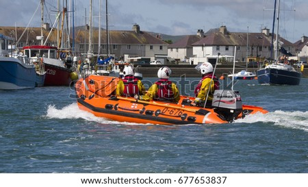 Lifeboat on Patrol, 19th June 2015, Pwllheli, North Wales, UK.