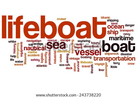 Lifeboat word cloud concept with vessel ocean related tags - stock photo