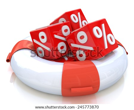 lifebuoy and cubes percent - stock photo