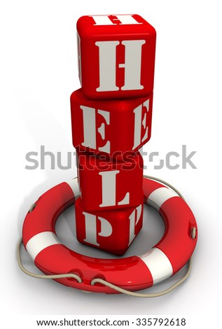 """Lifebuoy and the word """"HELP"""" of red cubes. Isolated on a white surface. The three-dimensional illustration - stock photo"""