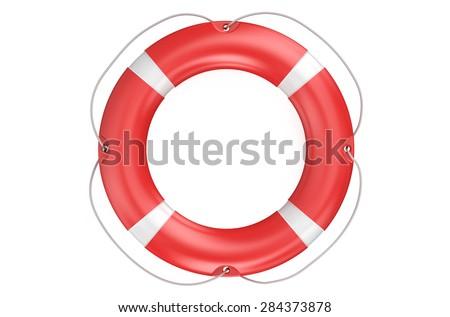 lifebuoy closeup isolated on white background - stock photo