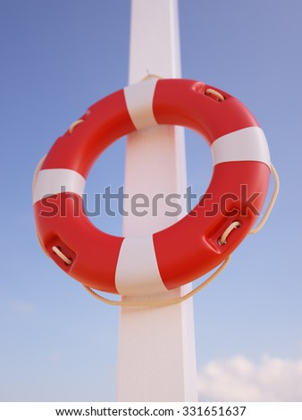 Lifebuoy hanging in front of blue sky