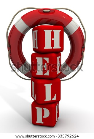 """Lifebuoy hanging on the word """"HELP"""" of red cubes. Isolated on a white surface. The three-dimensional illustration - stock photo"""