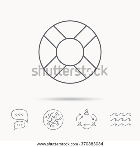 Lifebuoy icon. Lifebelt sos sign. Lifesaver help equipment symbol. Global connect network, ocean wave and chat dialog icons. Teamwork symbol. - stock photo