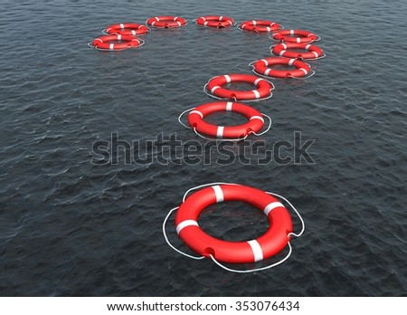 Lifebuoy in the shape of a question sign - stock photo