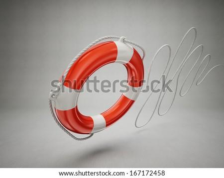 lifebuoy isolated on a grey background. 3d illustration - stock photo